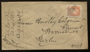 3 Cents Small Queen on 1880 Hamilton cover to Berlin ON