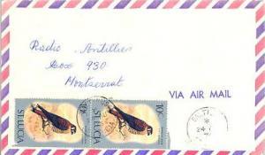 Saint Lucia 10c American Kestrel (2) 1976 Saltibus, St. Lucia Airmail to Mont...