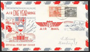 GERMANY BERLIN Sc#9N42, 46 One Year Berlin Airlift Cover cancelled 6-23-1949