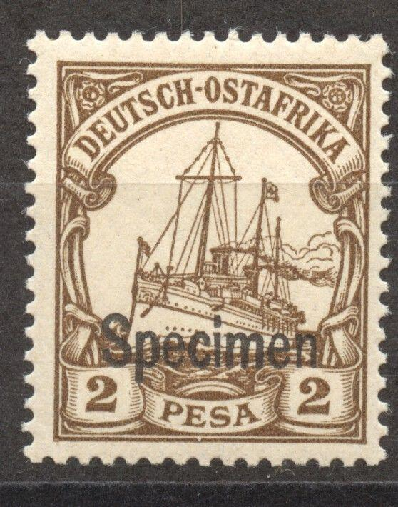 SPECIMEN Overprint on German East Africa 2 Pesa Yacht, MLH