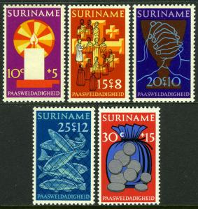 Surinam B182-B186, MNH. Easter. Candle, Fish, Judas' bag of silver, 1972