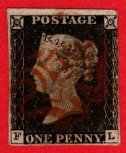 GBR SC #1 U (F,L) 1840 Queen Victoria w/red MC 3+ margins w/flts CV $390.00