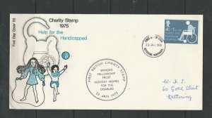 GB FDC 1975 Charity Kettering FDI with  Holiday Homes for the disabled, Winged