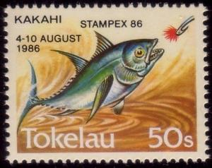 TOKELAU 1986 50s Fish with STAMPEX 86 overprint MNH - scarce..............41299A
