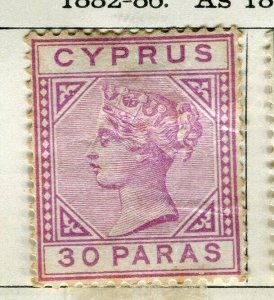 CYPRUS; 1892 classic QV Crown CA issue mint hinged 30pa. value