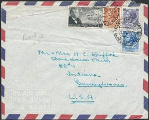 ITALY 1956 airmail cover to USA - nice franking............................47552