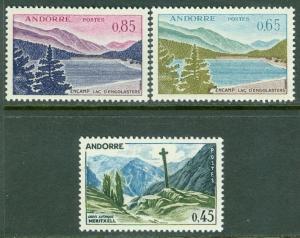 FRENCH ANDORRA : 1961-71. Yvert #160, 62, 63 Key Values. Very Fine, Mint OG VLH