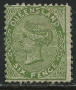 Queensland QV 1879 6d yellow green unused no gum