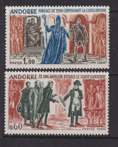 Sc# 159 / 160 French Andorra 1964 complete set MLH CV $45.00