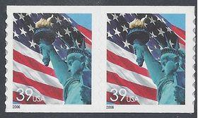 Scott 3981 39c Flag and Statue of Liberty Coil Pair 2006 Mint NH
