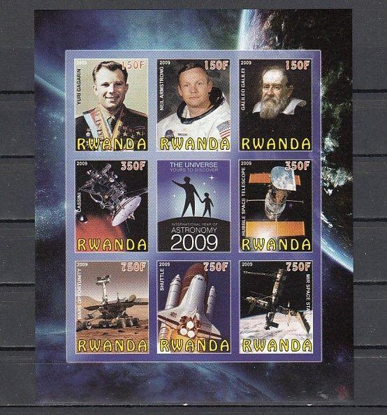 Rwanda, 2009 Cinderella issue. Universe-Space, IMPERF sheet of 8 + Label.