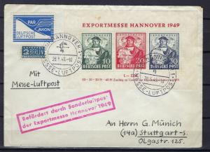 Germany AM Post Scott # 664a, RA2, FZ1, s/s, on airmail cvr, experts opinion