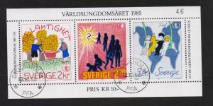 Sweden #1553  cancelled  1985 international youth year sheet