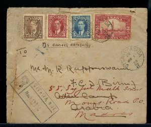RARE MR 1 1938 just before EAMS to ARABIA ADEN Registered  cover Canada