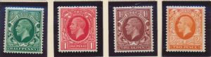 Great Britain Stamp Scott #210a, 211a, 212b, & 213b, Mint Hinged - Free U.S. ...