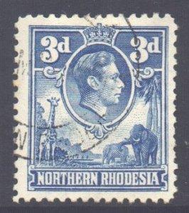 Northern Rhodesia Scott 34 - SG34, 1938 George VI 3d Blue used