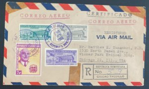1959 Ciudad Truji Dominican Republic Registered Airmail cover to Chicago IL Usa