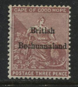 British Bechuanaland 1885 overprinted 3d claret mint o.g.