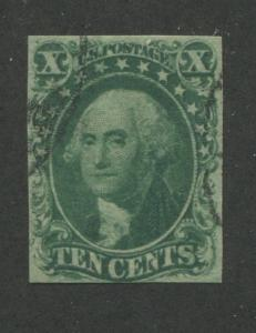 1855 US Stamp #14 10c Used VF Imperf Catalogue Value $175