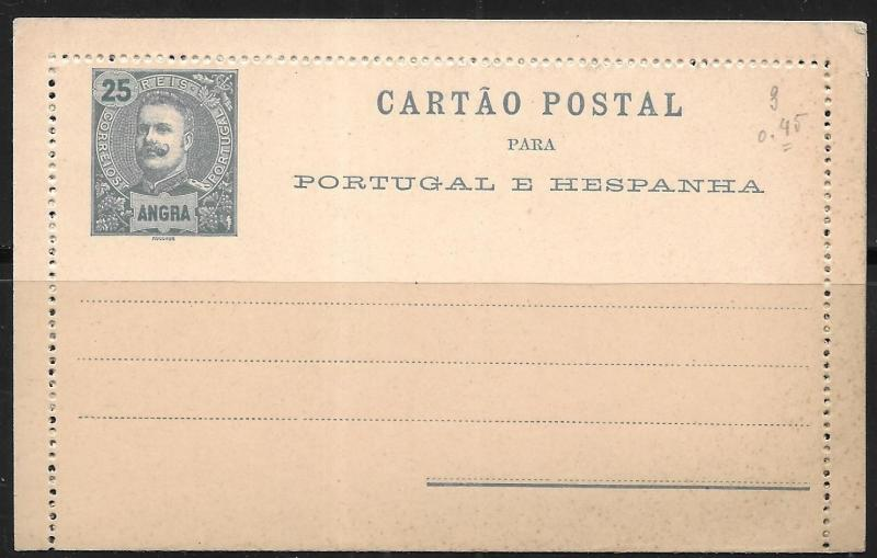 Angra Postal Stationery Lettercard H&G #3 Mint