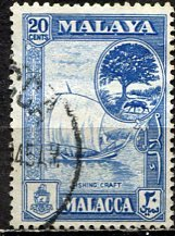 Malaya Malacca; 1960: Sc. # 62; O/Used Single Stamp