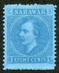 Sarawak SG6 8c Bright blue/blue (no gum as normal)