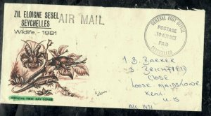 SEYCHELLES COVER (PP0301B)  1983 POSTAGE PAID STAMPLESS TO USA