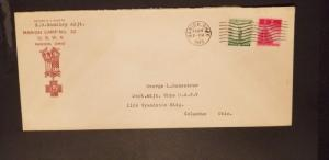 1943 Marion to Columbus Ohio US War Veterans Military Illustrated Cover