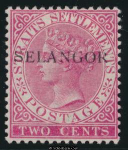 1890 Malaya Selangor 2c Bright Rose SELANGOR overprint, SG 42 MH