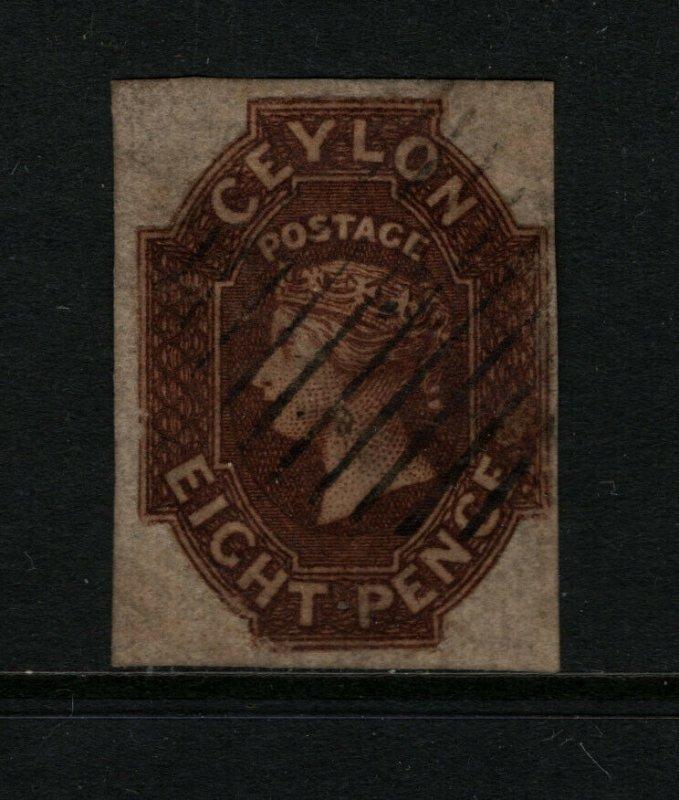 Ceylon #8 Very Fine Used Small Thin