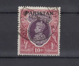 Pakistan KGVI 1947 10R O/P VFU JK5413