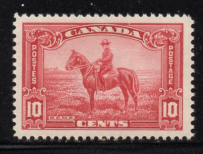 Canada Sc 223 1935 10c Carmine Rose RCMP On Horse Stamp Mint