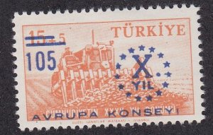 Turkey # 1440, Council of Europe 10th Anniversasry, NH, 1/2 Cat.