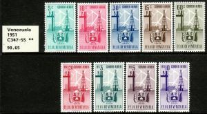 1951 Venezuela Arms of Zulia & Industry airmail set MNH Sc# C347 / C355