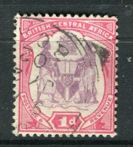 NYASALAND; 1901 classic Arms issue fine used 1d. value