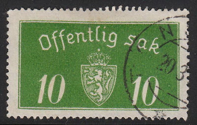 Stamp Norway Official Sc O012 1933 Dienst Coat Arms Used