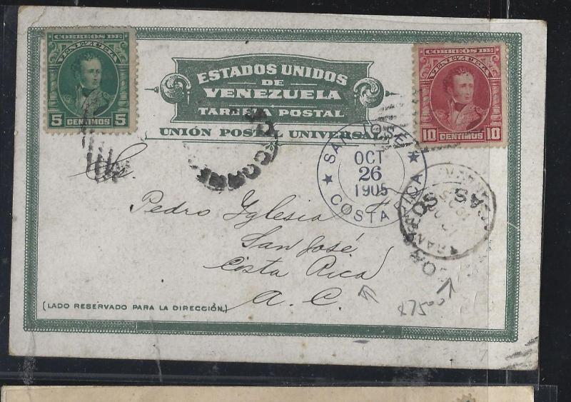 VENEZUELA   (PP2604B)   BOLIVAR 5C+10C ON PPC TO COSTA RICA
