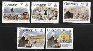 GUERNSEY 362-366 MNH JOHN WESLEY, REFORMER, SET