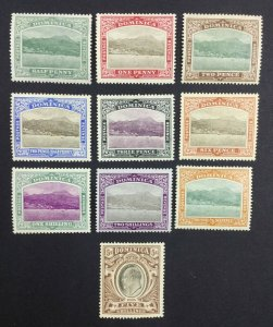 MOMEN: DOMINICA SG #37-46 1907-08 MINT OG H £225 LOT #62124