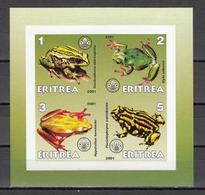 Eritrea, 2001 Cinderella issue. Frogs on an IMPERF sheet of 4. ^