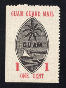 Guam# M3 1 Cent, Red & Black - Guam Guard Mail - Unused - N.G.A.I.