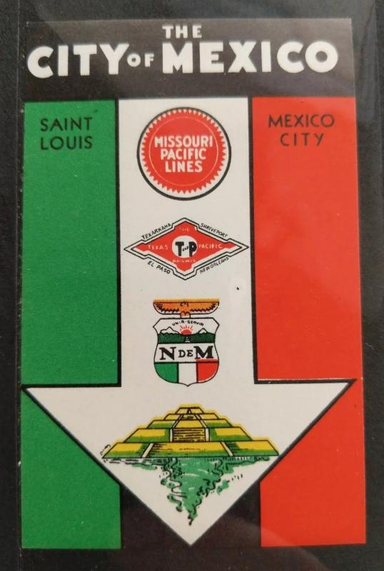 Mexico City St Louis Missouri Pacific Lines Train Railroad tour Travel poster ad