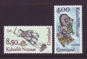 Greenland Sc 299-300 1995 Ship's Figureheads stamp set mint NH