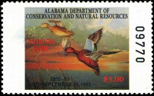 ALABAMA #14 1992 STATE DUCK CINNAMON TEAL by William Morris