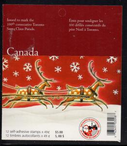 Canada Sc 2069a 2004 49c Christmas stamp booklet mint NH