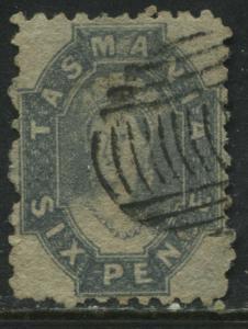 Tasmania QV 1864 6d slate blue used
