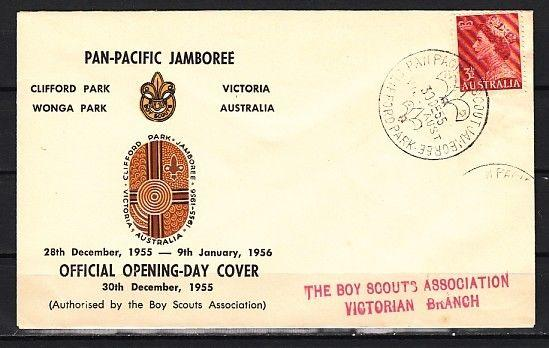 Australia, 30/DEC/55 cancel. Opening Day, Scout cancel on Envelope.