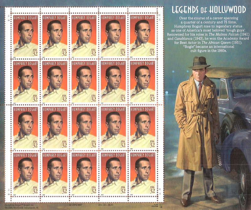 US unused Scott # 3152 Humphrey Bogart,  full sheet of 20,  CV 17.50