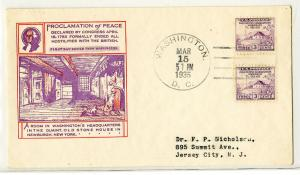 US Stamps FDC # 752 Gutter Pair on First Day Cover Scarce Clean