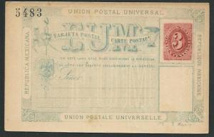 MEXICO Early 3c postcard unused............................................66216